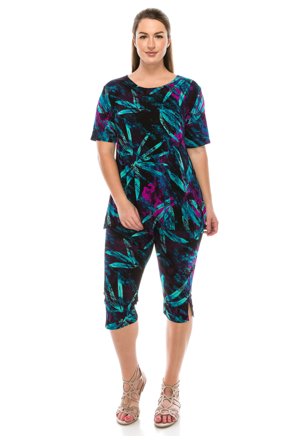 Jostar Women's Stretchy Capri Pants Set Short Sleeve Plus Print, 903BN-SXP-W101 - Jostar Online