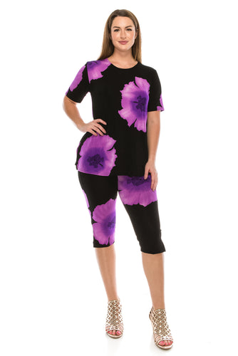 Jostar Women's Stretchy Capri Pant Set Short Sleeve Print, 903BN-SP-W113 - Jostar Online