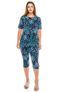 Jostar Women's Stretchy Capri Pant Set Short Sleeve Print, 903BN-SP-W141 - Jostar Online
