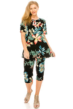 Load image into Gallery viewer, Jostar Women's Stretchy Capri Pants Set Short Sleeve Plus Print, 903BN-SXP-W189 - Jostar Online