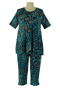 Jostar Women's Stretchy Capri Pants Set Short Sleeve Plus Print, 903BN-SXP-W444 - Jostar Online
