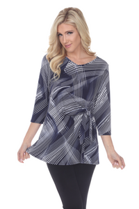 HIT Print Side Tie Tunic Quarter Sleeve-357HT-QP-W260-NVY