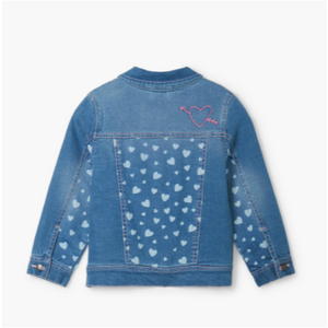 Heart Cluster Terry Lined Denim Jacket