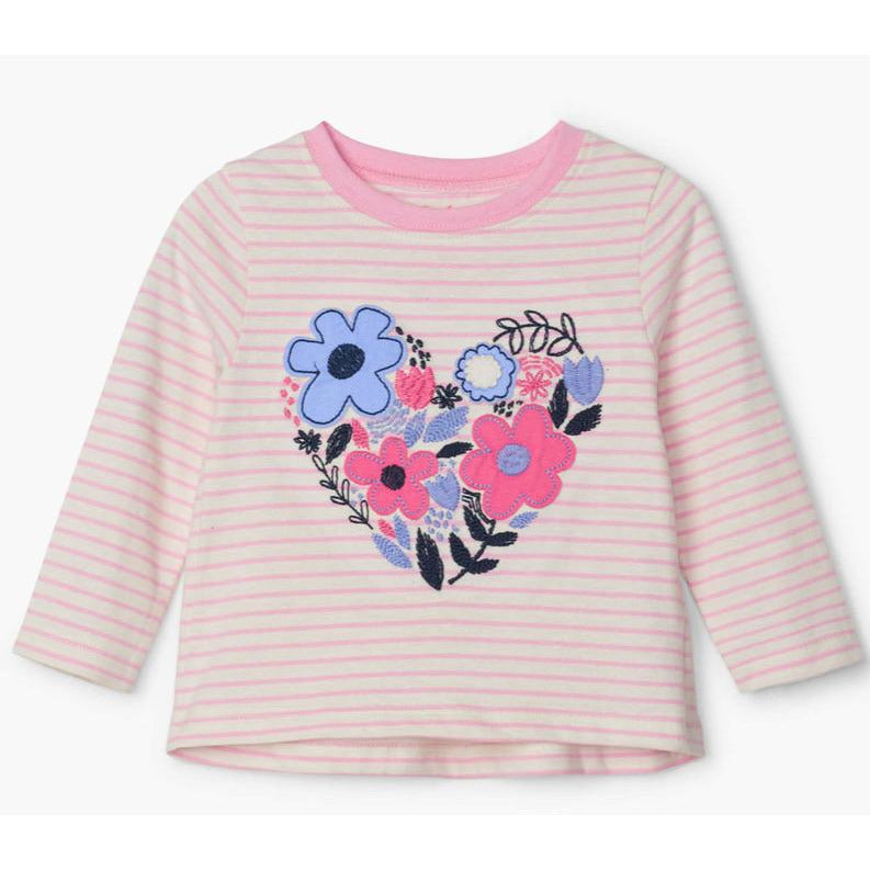 Cut-out Floral Long Sleeve Baby Tee