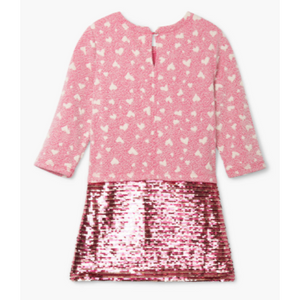 Quilted Hearts Sequin Shift Dress
