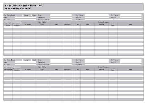 breeding service record book for sheep goats a4 b036