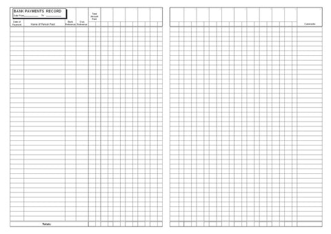 Bank Payment Record Book (A4) - Castlemaker Account Book B019