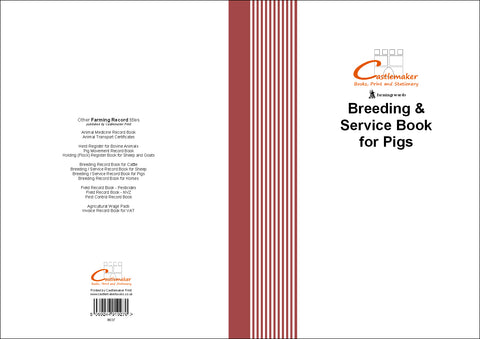 Breeding & Service Record Book for Pigs (A4) B037