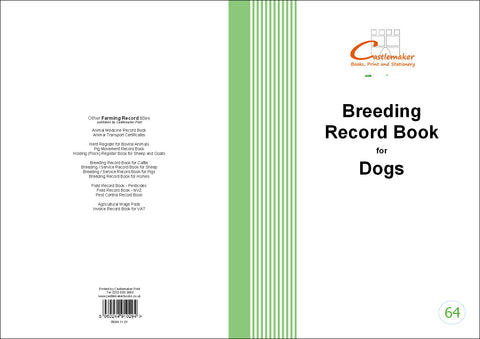 Breeding Record Book for Dogs (A4) B064