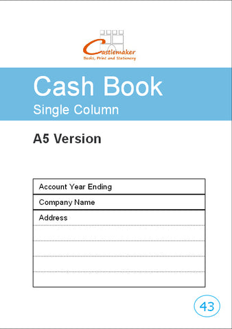 Single Column Cash Book (A5) C043