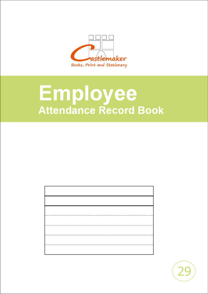 Employee / Staff Attendance Record Book (A4) E029