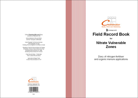 Field Record Book for Nitrate Vulnerable Zones - NVZ (A4) F030