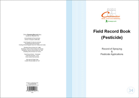 Field Record Book for Pesticides (A4) F034