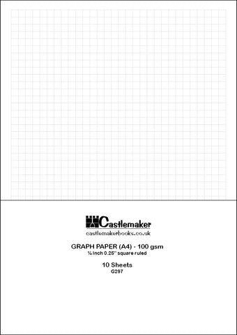 "A4 Graph Paper: 1/4 Inch 0.25"" Square Imperial: 100 GSM (10 Sheets)"