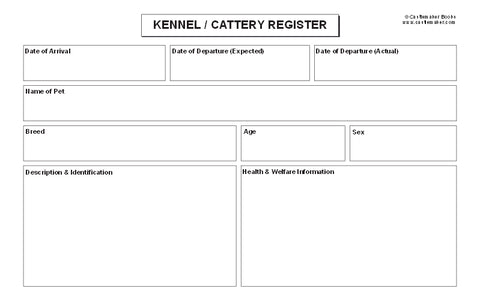 Kennel / Cattery Register Cards - Pack of 100 (8x5 Inches) K069