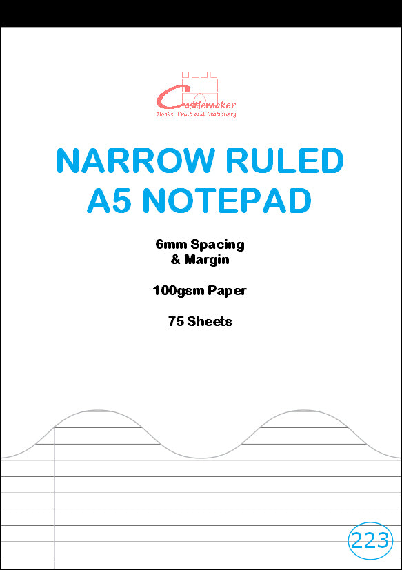 Notepad: Narrow Ruled with Margin (A5, 75 Sheets) N223