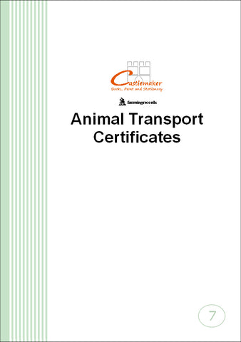 Animal Transport Certificate Book (A5) T007