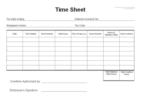 Time Sheet Cards (A5) T025