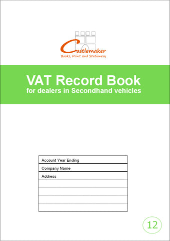 VAT Book for Dealers in Pre-Owned Vehicles (A4) V012