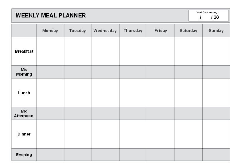 Weekly Meal Planner (A5 - 25 Sheets) W039