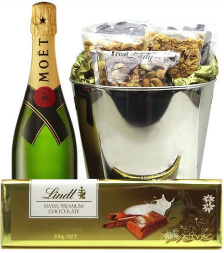 Golden Moet and Lindt Bucket - Gift baskets by Amora