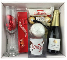 Load image into Gallery viewer, Little Pleasures Gift Hamper  - A Box Of Love ,Dipped strawberries ferrero rocher bouquet gift baskets