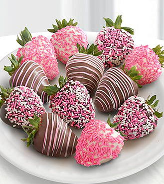Sprinkle Chocolate Dipped Strawberries - Gift baskets by Amora