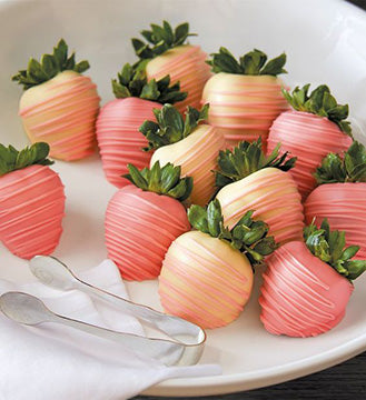 Pink Chocolate Dipped Strawberries - Gift baskets by Amora