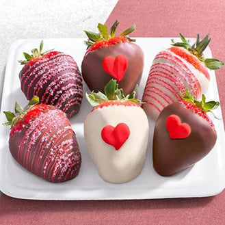 Mini-Hearts Dipped Strawberries - Gift baskets by Amora