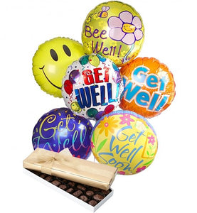 Get Well Balloons & Chocolate - Gift baskets by Amora