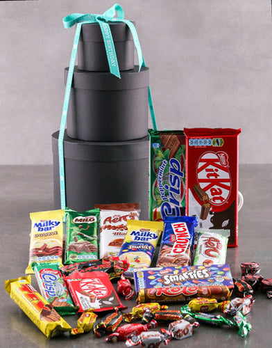 Birthday Choco Hat Box Tower - Gift baskets by Amora