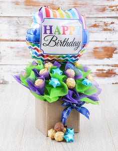 Happy Birthday Balloon Edible Arrangement - Gift baskets by Amora