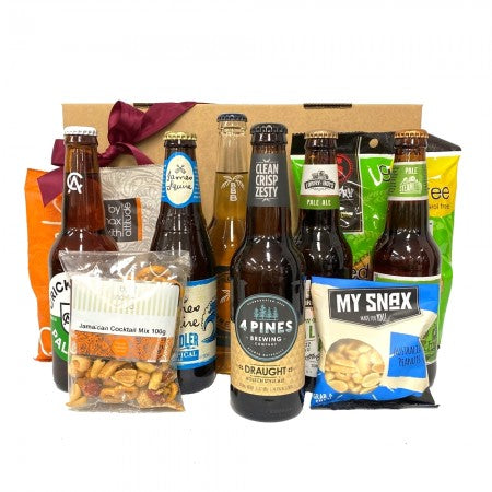 Premium Beers with savoury nibbles - Gift baskets by Amora