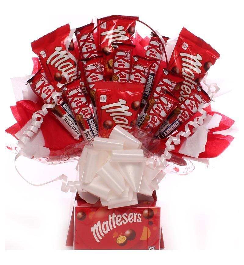 Kit Kat Chunky and Maltesers Bouquet. - Gift baskets by Amora