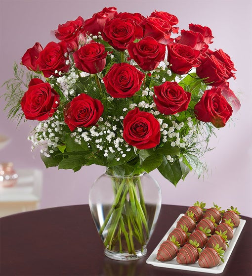 Red Rose with Strawberries - Gift baskets by Amora