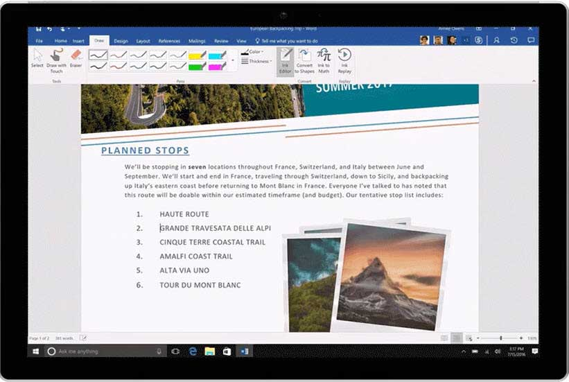using microsoft word in office 365 personal