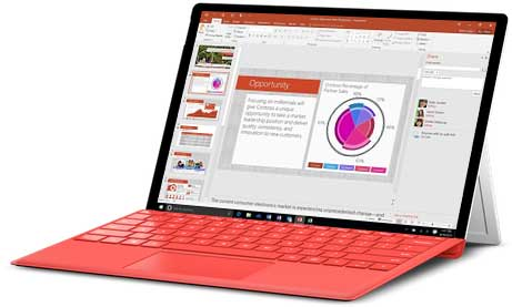 Office 2016 Home & Business running on laptop computer