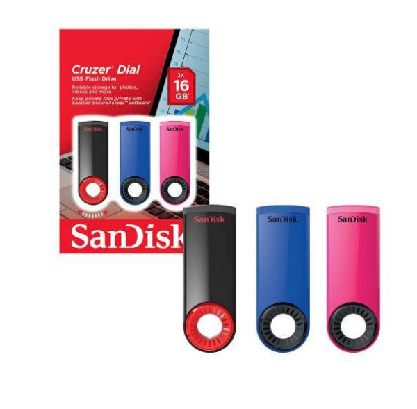 SanDisk Cruzer Dial USB 2.0 Flash Drive USB Memory Stick 16GB Triple Pack