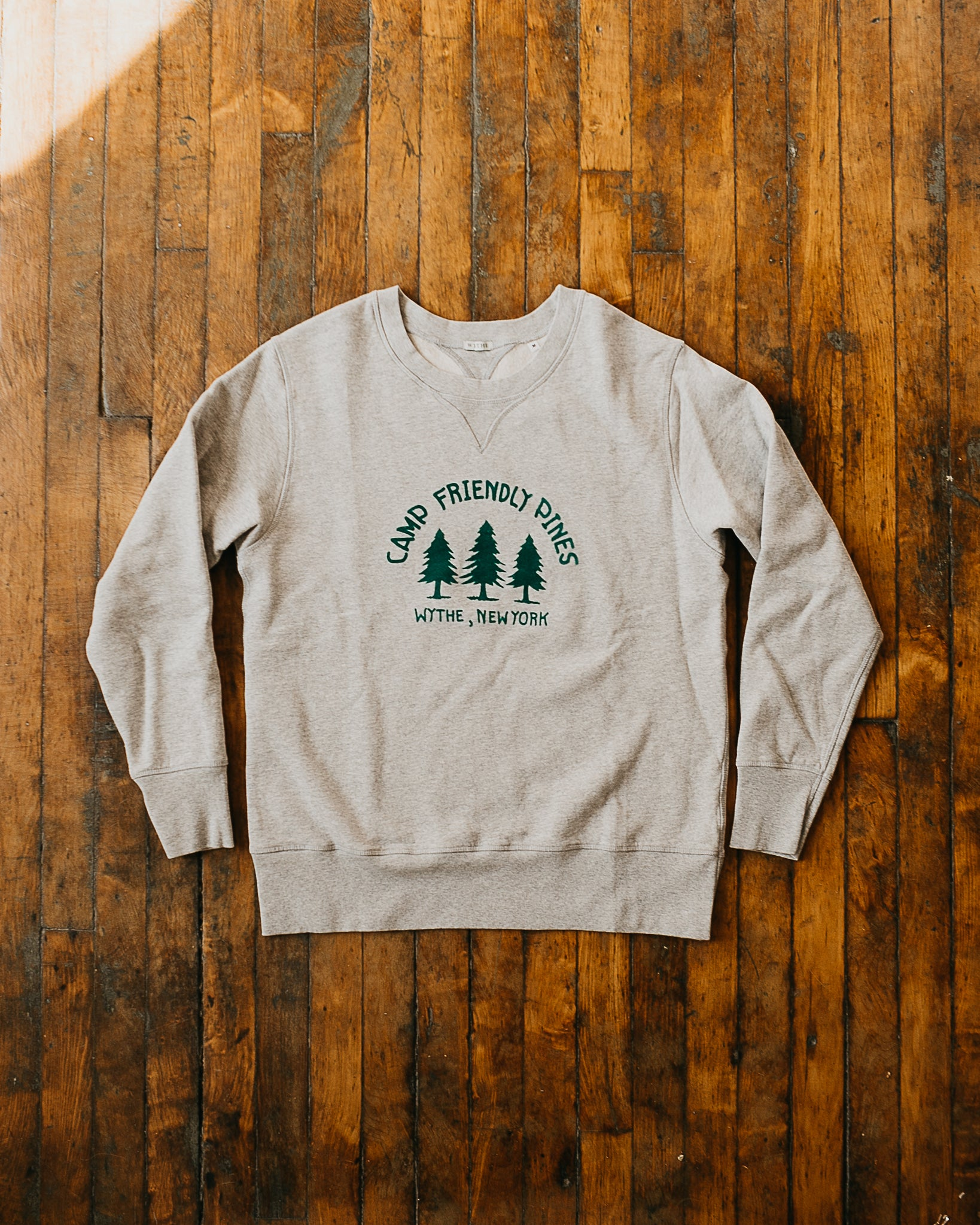 """Camp Friendly Pines"" Flocked Sweatshirt"