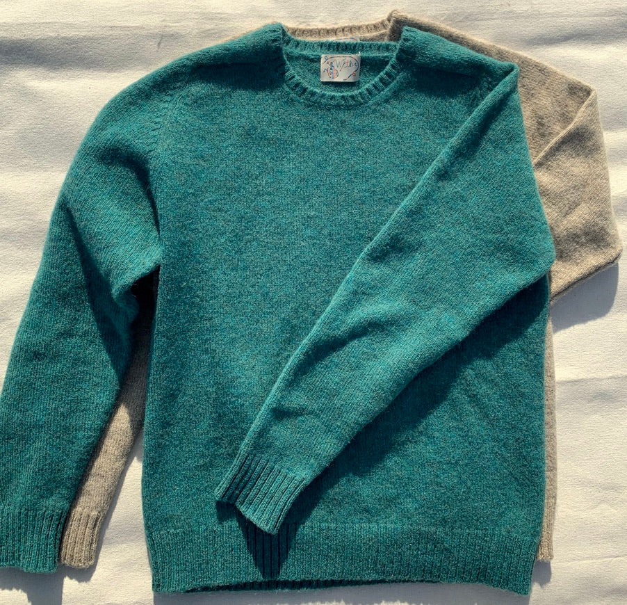 Emerald Washed Shetland Saddle Shoulder Sweater