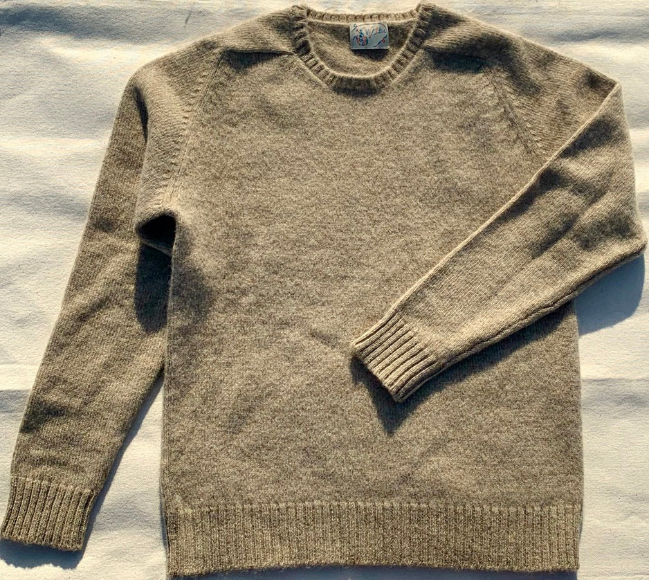 Oatmeal Washed Shetland Saddle Shoulder Sweater