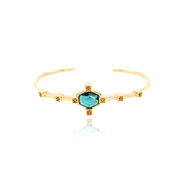 Small Hexagonal Cuff Bracelet - Green