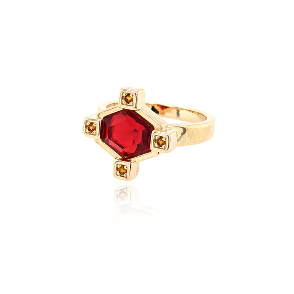 Small Hexagonal Ring - Red Ruby