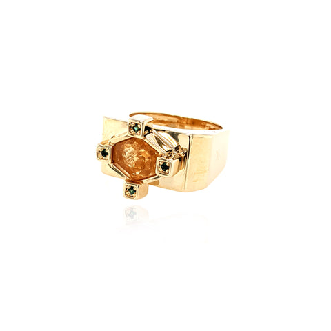 Large Hexagonal Ring - Citrine