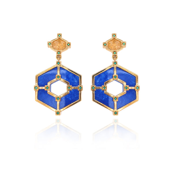 Hexagonal Statement Earrings - Citrine Blue