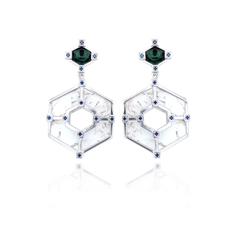 Hexagonal Statement Earrings - Silver