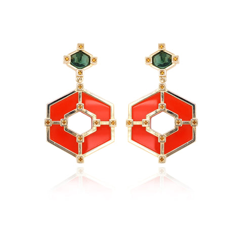Hexagonal Statement Earrings - Ruby Green