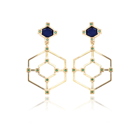 Hexagonal Frame Statement Earrings