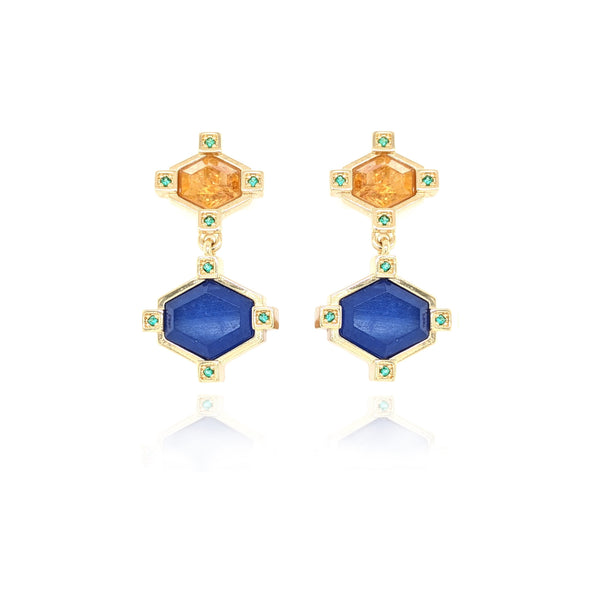 18Kt Yellow Gold Earrings with Gemstones