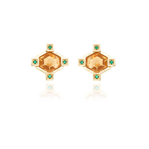 Hexagonal Stud Earrings - Citrine